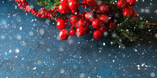 Christmas red branch snow fall greeting card royalty free stock photo