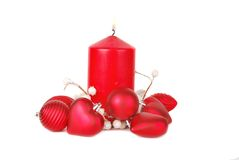 Christmas red candle Stock Photo