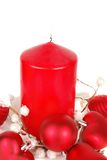 Christmas red candle Stock Photography