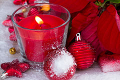 Christmas  red  candle Stock Image