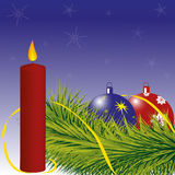 Christmas red candle. Christmas card, the branch of a Christmas tree with red and blue balls, red candle and streamer, vector illustration royalty free illustration