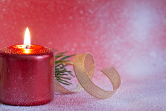 Christmas red candle closeup background Royalty Free Stock Images