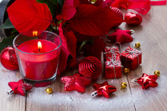 Christmas  red  candle with decorations Stock Photos