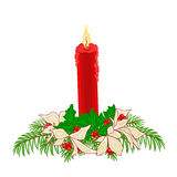 Christmas red candle holly and poinsettia  vector Stock Photos