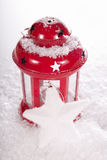 Christmas red candle lantern Stock Photo