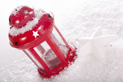 Christmas red candle lantern Royalty Free Stock Photography