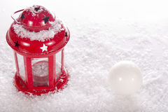Christmas red candle lantern Royalty Free Stock Photos