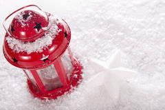 Christmas red candle lantern Stock Images