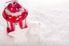 Christmas red candle lantern Royalty Free Stock Photo