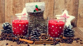 Christmas red candles and spice Royalty Free Stock Photos