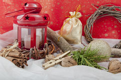 Christmas red candle with stars Stock Images