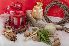 Christmas red candle with stars Stock Image
