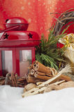 Christmas red candle with stars Royalty Free Stock Photos