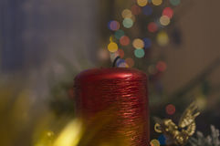 Christmas red candle Stock Photos