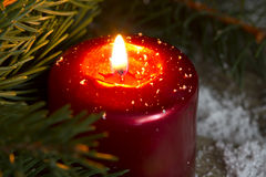 Christmas red candle wit fir closeup Royalty Free Stock Photo