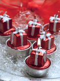 Christmas red candles Royalty Free Stock Photos