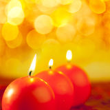 Christmas red candles round shape royalty free stock image