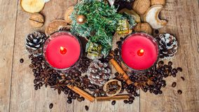 Christmas red candles and spice Royalty Free Stock Image