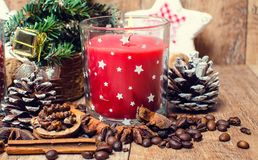 Christmas red candles and spice Stock Photo