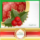Christmas red card. Write a Christmas greeting cards with red tablecloths Royalty Free Stock Photo