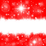 Christmas red card with bright stars and snowflakes Stock Photos