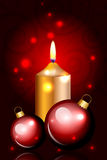 Christmas red card with candle and decorationd Royalty Free Stock Images