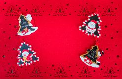 Christmas Red Card with Copy Space, Decoration Trees, Santa Claus and Snowmen royalty free stock images