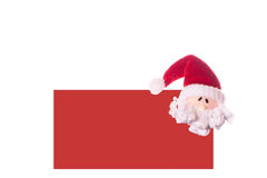 Christmas red card with a face Santa Claus. Isolated on white background Stock Photo