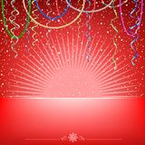 Christmas red card snow light ribbons and beads Royalty Free Stock Photo