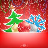 Christmas red card snow ribbons and bauble Stock Images