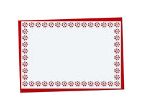 Christmas red card with snowflakes and christmas openwork Royalty Free Stock Photos