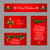 Christmas red cards different sizes and shapes Royalty Free Stock Photography