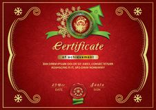 Christmas red certificate. Santa inside emblem, Xmas background stock photography