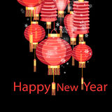 Christmas red Chinese lanterns Stock Image