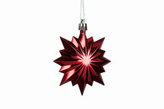 Christmas. Red christmas star decoration isolated on white backg Royalty Free Stock Photos