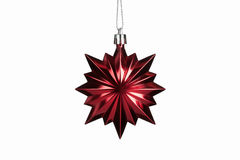 Christmas. Red christmas star decoration isolated on white backg Stock Photo