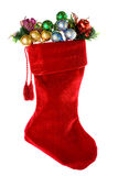 Christmas: Red Christmas Stocking with Decorations Stock Image