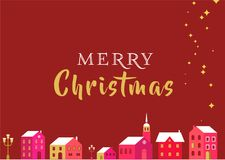Christmas  greeting card with winter village and lettering. Christmas red classic background, greeting card, banner with xmas village, homes and lettering Stock Photo