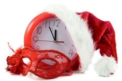 Christmas red clock on12 Royalty Free Stock Photos