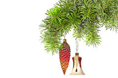 Christmas red  cones and bell  on new year tree Stock Images