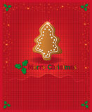 Christmas red congratulations card gingerbread Royalty Free Stock Photos