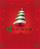 Christmas red congratulations card tree Stock Photo