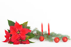 Christmas with red decoration balls and candles Stock Image