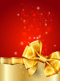 Christmas red decoration with gold ribbon Royalty Free Stock Image