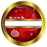 Christmas red design with a gold border Royalty Free Stock Photo