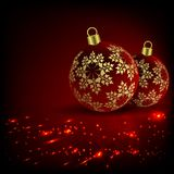 Christmas red, fire design with two balls and snowflakes. Christmas red, fiery design with two red balls and golden snowflakes Stock Images