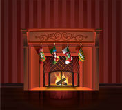 Christmas red fireplace. With socks Stock Photography