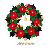 Christmas red flower wreath Royalty Free Stock Photos