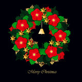 Christmas red flower wreath Stock Photography