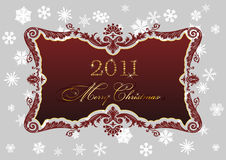 Christmas red frame 2011 snowflakes decor. Background vector illustration